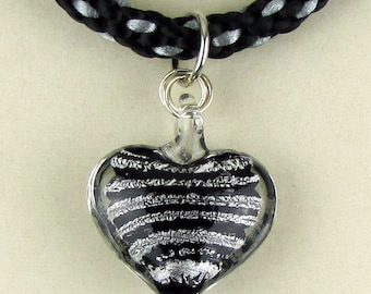 Black and Silver Kumihimo Necklace