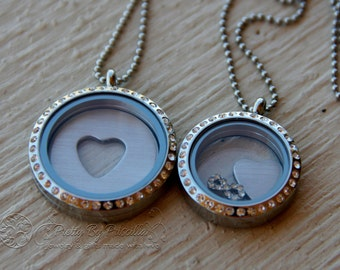 Mother Daughter Jewelry - Mother Daughter Necklace Set Lockets-I Carry Your Heart - Custom Locket Heart Plate