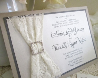Lace Wedding Invitations - Many Colors Available!