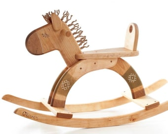 Personalized Wooden Rocking Horse, Organic Kids Toy, Wooden Toy For Toddler, Wood Ride On Toy