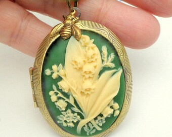 Large Resin Cameo Locket, Lilies of the Valley, Ivory and Green, Adjustable Ribbon Cord, Antiqued Gold Tone Locket, Hand Crafted