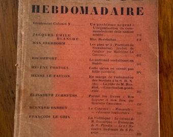 Vintage French Magazine. La Revue Hebdomadaire. 1934.