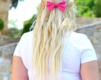 Pink hair bow clip, Pink hairbow barrette, Cute pink hair bow, Girl's hair bow clip, Cheerleaders hair bow, Hair accessory, Pink fascinator