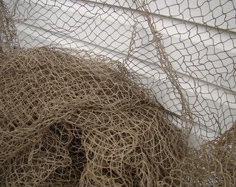 Old Used Fishing Net - 10 ft x 10 ft - KNOTLESS - Vintage Fish Netting - Nautical Maritime Decor