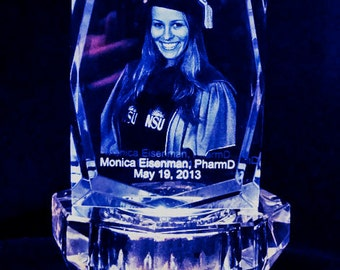 3D Crystal - Laer Etching Photo in Crystal Cube A00101 w/Light Base, Picture in Glass, Gift 4 Christmas, Birhday, Valentise's, Mother's Day