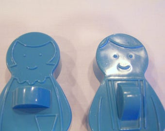 Vintage Avon cookie cutters, blue boy and girl set