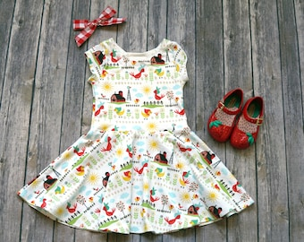 Farmyard Dress - Farm Dress - Chicken Dress - Baby Dress - Toddler Dress - Girls Dress - Twirl Dress - Twirly Dress - Birthday Dress