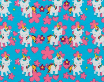 unicorn pony fabric, jersey. sk142
