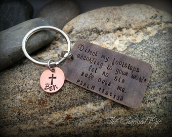 Religious Key Chains - Gifts for him - Personalized Religious Gifts - Hand Stamped Religious gifts - Personalized - Hand Stamped Key