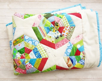 """Quilt baby colorful patchwork crib lap throw blanket cover bedding 38"""" x 50"""" red blue green pink off-white spider's wed baby shower gift"""