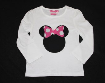 Girls Minnie-inspired applique shirt in short or long sleeve or tank top