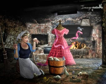 digital backgrounds | digital backdrops | Cinderella scullery |2 backgrounds and a stock overlay  pack |fantasy |fairytale