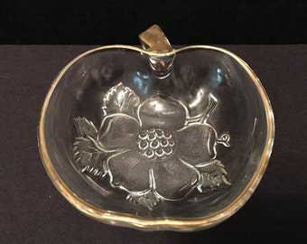 Vintage Clear Glass Apple Shaped Candy Dish with Gold Trim