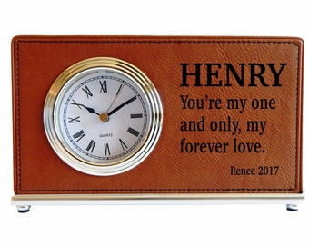 1st Anniversary Gift for Husband from Wife - Personalized Desk Clock Gift for Husband's Office -  2nd Anniversary Gift for Him, LCH016