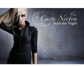20% OFF Memorial Day Sale Carpe Noctem wall quote decal, sticker, mural, vinyl wall art saying