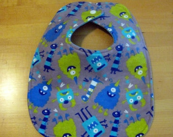 Blue and Green Monsters on Grey BIB,  Toddler and Baby bib