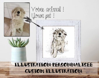 PORTRAIT / Pet / Dog, cat, reptiles, birds/ Custom illustration / Digital / Personnalized / Unique souvenir