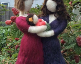 Customized Needle Felted Family of Three, Two Mothers,