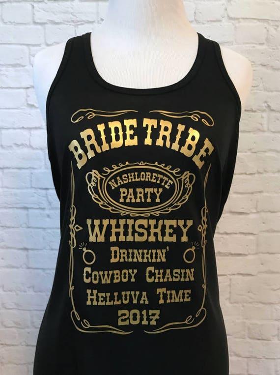 Bride Tribe Whiskey Custom Bachelorette Bridal Party Tank Top Flowy Racerback Tank Printed in Gold Metallic