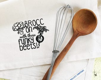 Brocc on with those funky beets vegan organic cotton kitchen dish towel. Silk screened cotton tea towel.