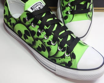 Skull Converse All Stars US Men's size 9 hand painted skulls by RokGear - SALE price Ready to ship