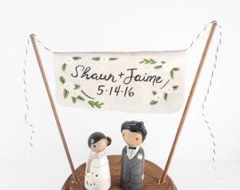 Cake Topper Names - Wedding Banner Cake Topper - anniversary gift - Custom Cake Topper -  Personalized Monogram Cake Topper  - Name Topper