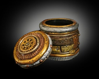 Steampunk  Airtight Stash Jar . Quality airtight glass jar that's clay covered and painted like worn and weathered metal.