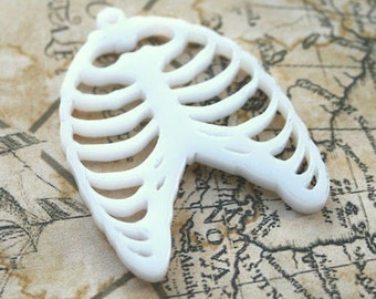 3 x laser cut ribcage pendants laser cut acrylic - choice of colours - skeleton - jewellery making