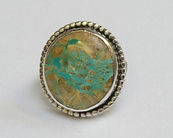 Sterling silver handmade royston ribbon turquoise oxidised ring, hallmarked in Edinburgh.