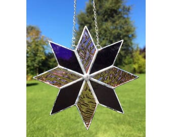 Stained Glass Pink and Purple Star Suncatcher Decoration