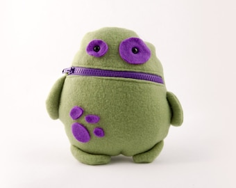 Green and Purple Tooth Fairy Pillow- Pocket Monster- Colorful Monster Plush