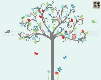 Owl tree wall decal, owl nursery decor, gender neutral, nursery owl wall decor, Owl Tree Wall Sticker, Tree Wall Decal, Hooty Bright Design