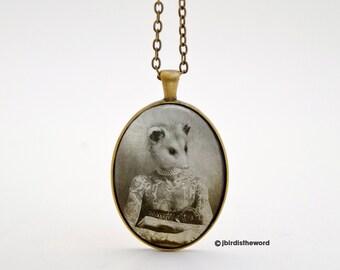 Awesome Possum Necklace, Possum, Awesome Possum, Animal Jewelry, Animal Necklace, Woodland Animal Necklace, Animal Charm, Animal Pendant