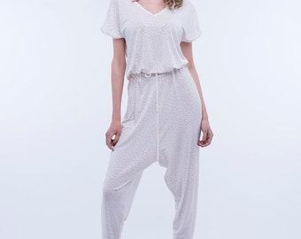 White jumpsuit/Summer jumpsuit/Women jumpsuit/Red pois jumpsuit/Viscose jumpsuit