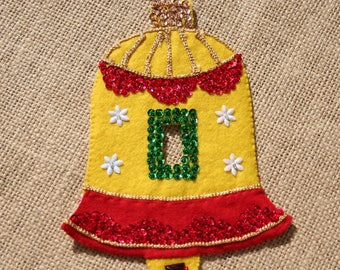 Vintage Felt Christmas Bell Yellow Ornament Switch Cover, Sequined, 1960s