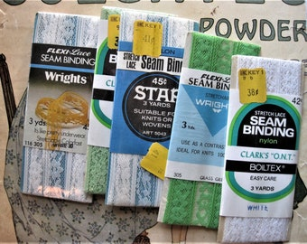5X Vintage Lot of Pastel Colored Flexi Lace Seam Binding, Green, Yellow and White