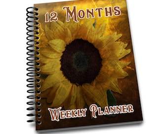 12 Months Weekly Planner: Undated Weekly Planner | 2 pages per week | Notes | Sunflower