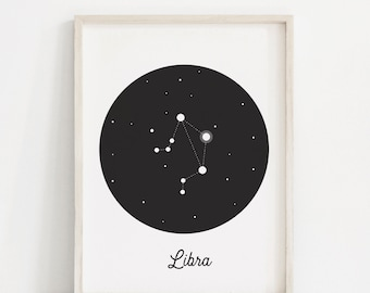 Libra Print - Libra Constellation - Wall Art - Libra Gift - Horoscope Art