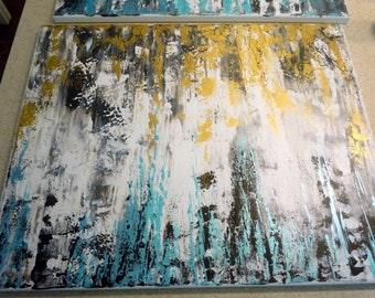 Gold and Turquoise Black Grey White Neutral ABSTRACT Original Painting canvas living room bedroom wall art palette knife FREE SHIPPING