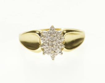 10k Diamond Inset Pointed Cluster Concave Curved Ring Gold