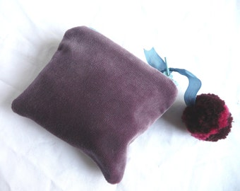 Purple velvet purse - hand dyed velvet pouch - hand made pom pom purse - velvet purse with pom pom - velvet mini purse