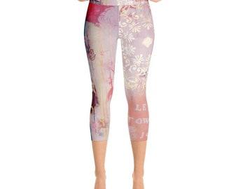 "yoga capri pants ""lean towards joy"""