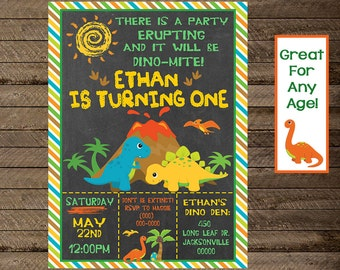 Dinosaur Invite, Dinosaur invitation, dinosaur birthday party, dinosaur party decor, boy's first birthday, boy dinosaur party, dino, print