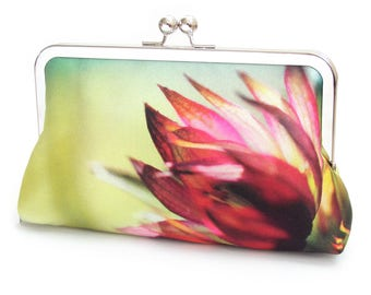 Clutch bag, silk purse, flower petals, contemporary flower clutch, pink, chartreuse handbag, ASTRANTIA