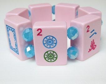 Mah Jong Bracelet / Mah Jong Tile Bracelet / Pink Mah Jong Bracelet / Pastel / Pastels / Pink and Blue / Modern / Chic / Chunky / Cuff