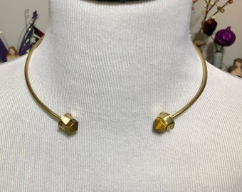Belisama Brass and Tiger Eye Point Torc Collar Necklace