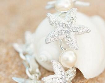 Rhinestone Starfish Bracelet Bridal Crystal Jewelry Pearl Bride Bridesmaid Gifts Mermaid Nautical Destination Beach Wedding Accessories