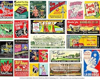 Vintage Matchbook Covers - Digital Matchbook Clip Art, Burlesque Adult Match Book Art, Match Label, Old Fashioned Diner Advertising, 350