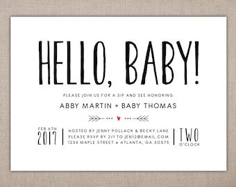 HELLO BABY - Printable Sip and See Invitation, Modern Baby Shower Invitation, Simple Baby Shower Invitation, Baby Meet and Greet Invitation