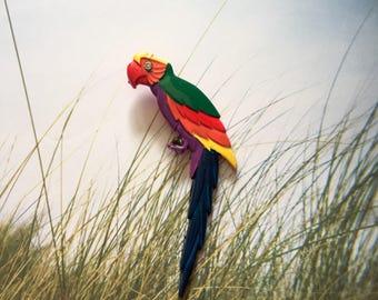 Vintage Parrot Brooch, Large Parrot Brooch,  Macaw Parrot Brooch,  Colorful Parrot Brooch, Vintage Macaw Parrot Jewelry, Vintage Parrots